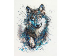 Cross stitch kit Snow Splashes - Wolf - RTO