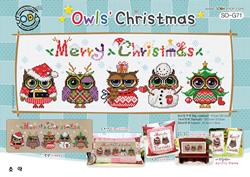 Borduurpatroon Owls' Christmas - Soda Stitch