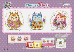 Borduurpatroon Flower Owls - Soda Stitch