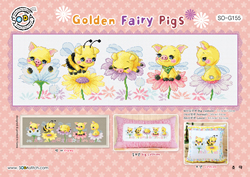 Cross stitch kit Golden Fairy Pigs - Soda Stitch