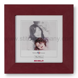 Wooden frame 14 x 14 cm, bordeaux  - The Stitch Company