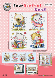 Cross Stitch Kit Four Seasons Cats - The Stitch Company