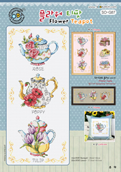 Cross stitch kit Flower Teapot - The Stitch Company