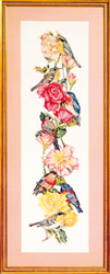 Cross Stitch Chart Birds and Roses Picture - Vermillion Stitchery