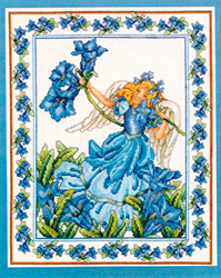 Borduurpatroon Blue Morning Glory Angel - Vermillion Stitchery