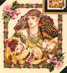 Borduurpatroon Lady with a Fan - Vermillion Stitchery