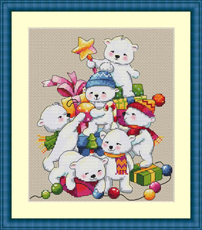 Cross Stitch Kit Christmas Bears - Merejka