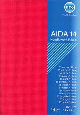 Fabric Aida 14 count - Red - RTO