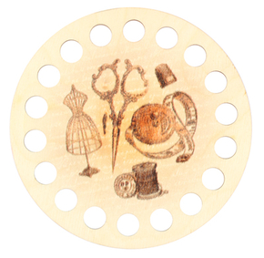 Plywood organizer - Round with print Sewing Things and Mannequin - RTO