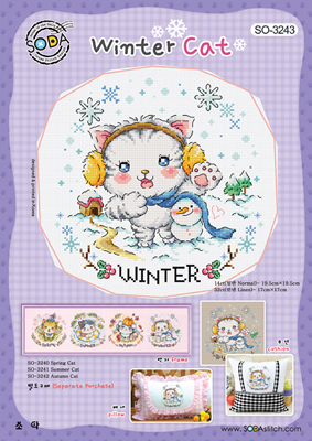 Borduurpatroon Winter Cat - Soda Stitch