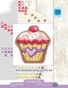 Cross stitch kit Perforated Wooden Form - Cupcake - RTO